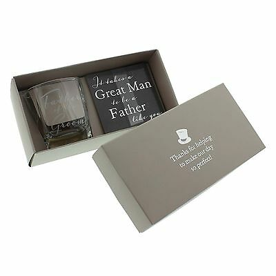 Father of the Groom - Whisky Glass & Coaster Set  Wedding Thank you Gift