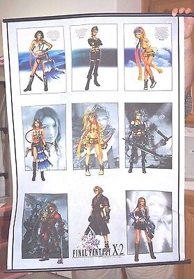 Final Fantasy X-2 Cloth Wall Scroll Poster Banner Yuna Paine Rikku Anime