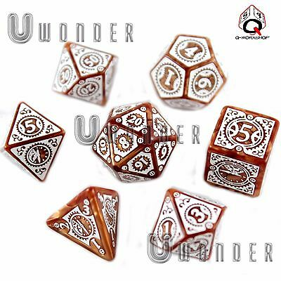 set 7 dadi STEAMPUNK CLOCKWORK Caramel e Bianco Q Workshop Caramel White SSTC72
