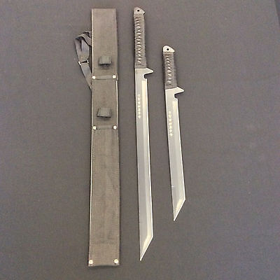 Black Blade Japanese Ninja Assassin Double Sword/Machete w/ scabbard