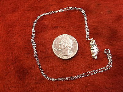 "Very Nice Older Vtg Sterling Silver ""winnie The Pooh"" Charm/pendant, Necklace"