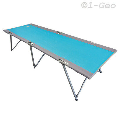 CAMP COT 192x64x44cm Alu frame Camping bed Folding Sun lounger blue Guest NEW
