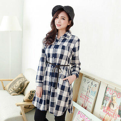 New Maternity Nursing Tops Spring&Summer Plaid Long Sleeves Fashion for Pregnant