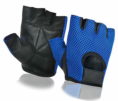Mesh Bus Driving Gloves Leather Weight Lifting Gym Cycling Wheelchair Fingerless