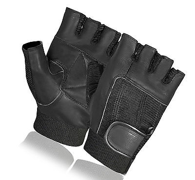 BUS DRIVING GLOVES LEATHER WEIGHT LIFTING GYM CYCLING WHEELCHAIR FINGERLESS NEW