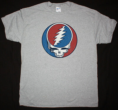 Grateful Dead Vintage Logo Sports Grey T Shirt Rock Phish Jefferson Airplane