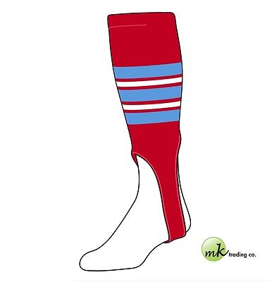 "TCK® Small/Youth, 100F, 6"" - Scarlet Red–Baby Blue–White  MLB® Baseball Stirrups"