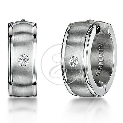 Men's Titanium Earring Matt &Polished Diamond Hinged Hoop Earring Pair / Single