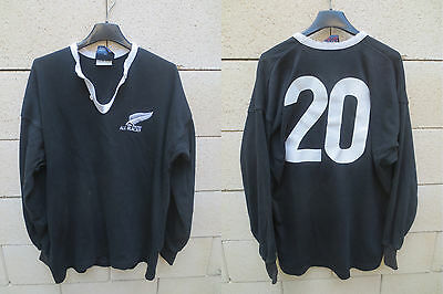 VINTAGE Maillot porté rugby NEW ZEALAND ALL BLACKS 1990 match worn shirt 44 XL