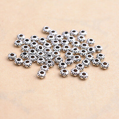 Wholesale Lots 100pcs Tibetan Silver Charms Loose Spacer Beads 4MM #84