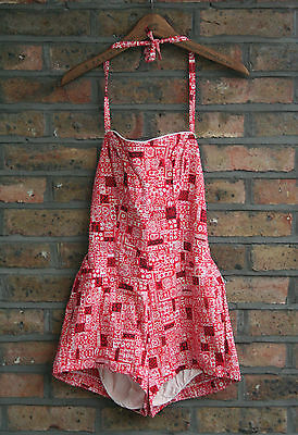 VTG 50s COLE OF CALIFORNIA RETRO PRINT BATHING SWIMSUIT PLAYSUIT USA PINUP UK 8