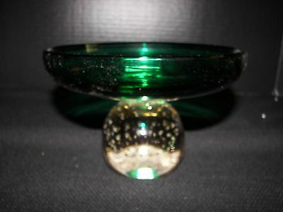 Pairpoint Green with Crystal Controlled Bubble Base Compote