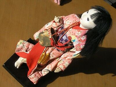 Vintage  Japanese Doll Young Geisha Girl Kimono Textile Dress Cloth Face 13""