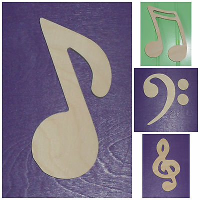 "Wooden Shapes 6"" Size Unpainted Wood Music Notes Musical Symbols Wall Decor"