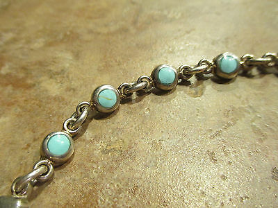 """GORGEOUS Vintage Navajo ? Sterling Silver Inlay Turquoise LINK Bracelet  7 3/8"""""""