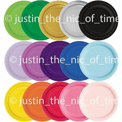 """20x ROUND 7"""" Paper CAKE PLATES 17cm Plain Catering Birthday Party Tableware"""