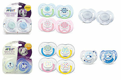 NEW 2 Pack Philips Avent Soother Baby Dummies Toddler Silicone Nipples 0 - 18 m