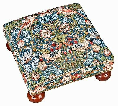 Tapestry Footstool in William Morris Strawberry Thief - Made in England
