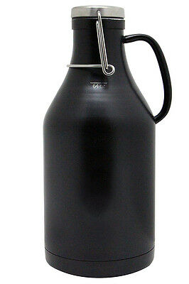 Kegco Grizzly 64 oz Double Wall Stainless Steel Flip Top Beer Growler - Black
