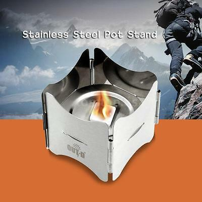 Camping Foldable Stainless Steel Pot Stand with Tray Solid Fuel Stove Stand K2H7