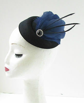Black Navy Blue Feather Pillbox Hat Fascinator Vintage Races Headpiece 1920s 9AE