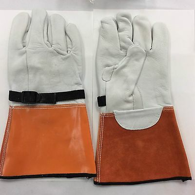 """14"""" High Voltage Protector Glove With A grade Cow Leather Size 10"""