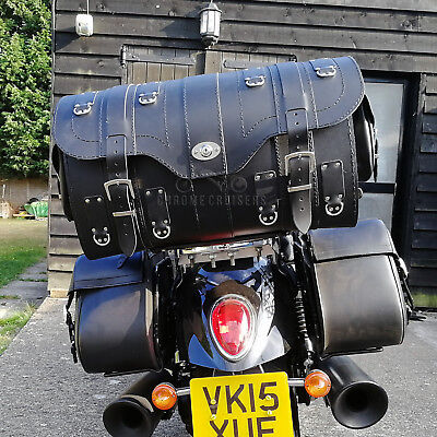 Black Leather Rear Bag Saddlebag Pannier Harley Davidson Trike Goldwing Vw