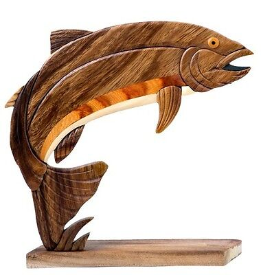 INTARSIA WOOD RAINBOW TROUT TABLE DECOR, handsome handcrafted wood mosaic