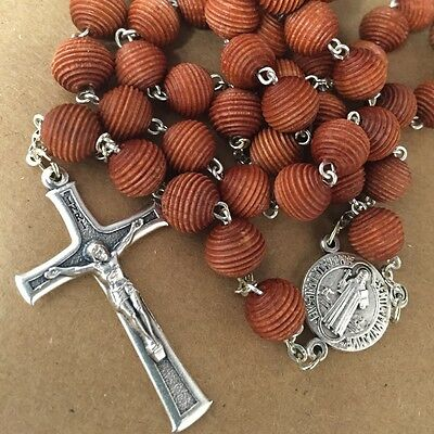 MAN wood ST.BENEDICT rosary assembled in POLAND