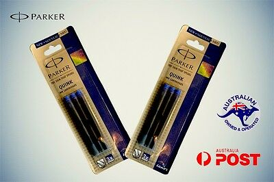 PARKER INK CARTRIDGES BLUE x 6  Fountain Pen Refill BRAND NEW Sealed