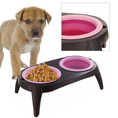double gamelle bol pour chien et chat avec pieds fushia eur 14 49 picclick fr. Black Bedroom Furniture Sets. Home Design Ideas