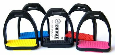 Polymer Stirrups Horse Rding Stirrups Black With Colored Treads Amidale 2 Sizes