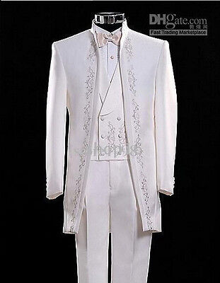 New White Embroidered Mens Wedding Suits Groom Tuxedo 3 Piece Formal Party Suits