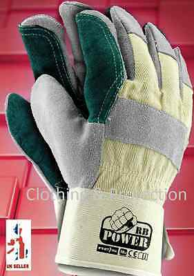 Double Palm Heavy Duty Reinforced Rigger Leather Work Gloves Safety Gauntlets