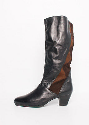Size 9 Vintage Ladies leather 80s high boots brown and black
