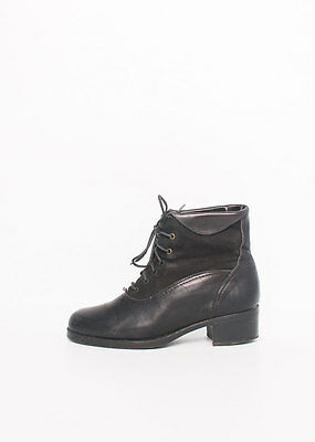 Size 37 Vintage Ladies Black Grunge leather and suede lace up ankle boots
