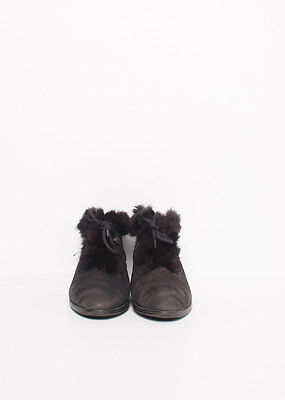 Size 39 Vintage Ladies Black laceup leather ankle boots with fur trims