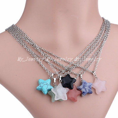 Rock Crystal Quartz Natural Stone Women's Charm Gemstone Star Pendant Necklace