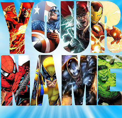 Personalised Marvel Wall decal stickers Kids Avengers Name - 3 SIZES -  (S3)