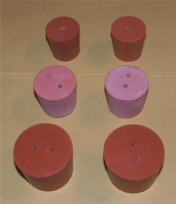 39mm Rubber Stopper Rubber Bung 2-Hole Laboratory NEW