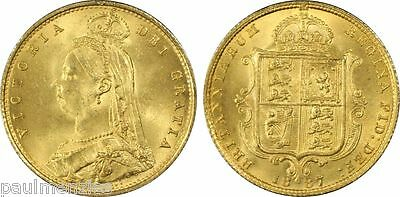 1887 Jubilee Victoria Gem Unc Gold Half Sovereign S-3869 Normal Jeb Pcgs Ms65