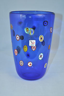 MURANO Art Glass Vase Cobalt  Blue Murrine  Gambaro & Poggi New