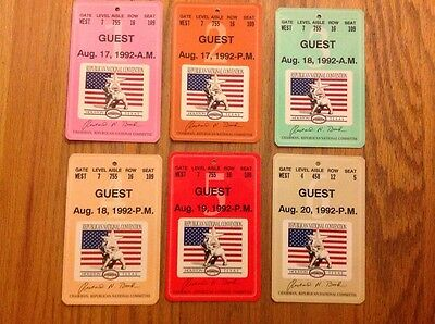 1992 Republican National Convention Guest Credentials Set President George Bush