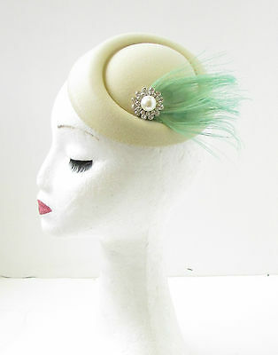 Cream Silver Mint Green Ivory Feather Pearl Pillbox Hat Fascinator Headpiece 9AN