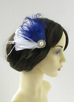White & Royal Blue Silver Peacock Feather Fascinator Hair Clip Bridal 1920s 9AP