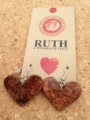 Heart-Shaped Recycled Bark Earrings Handmade in South Africa Eco Jewellery