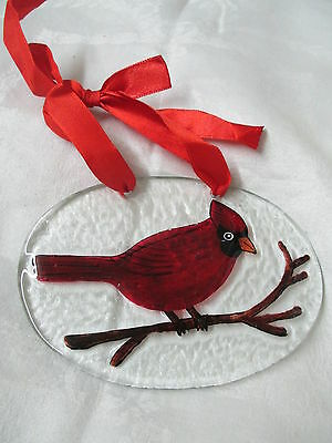Vintage oval glass ornament wall hanging hand painted Red Cardinal