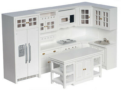 MINIATURE DOLLS HOUSE 12th SCALE FULL KITCHEN SET  WHITE NEW 8 PIECE