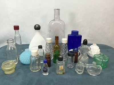 Antique Bottles Jars Medicine Lotion Perfume Mixed Product Apothecary Vintage