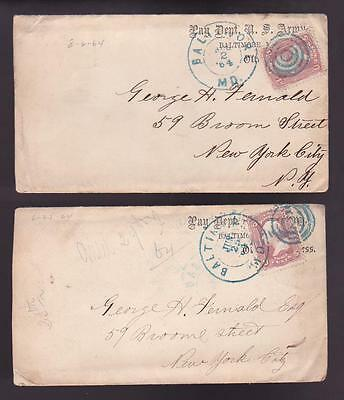 Lot of (2) Civil War Date Covers Envelopes U.S. Army Pay Department Baltimore